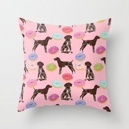 German Shorthair Pointer pink donuts dog breed art work pet portrait dog art furry fur baby Throw Pillow