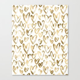 Gold Love Hearts Pattern on White Canvas Print
