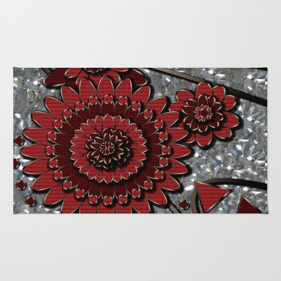 Red Glistens in Crystal  Rug
