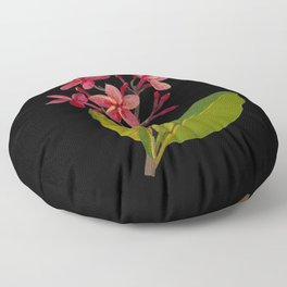 Plumeria Rubra Mary Delany Floral Paper Collage Delicate Vintage Flowers Floor Pillow