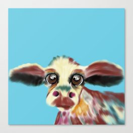 Colorful Cow With Big Eyes On Bluebackground Canvas Print
