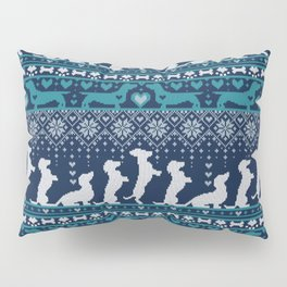 Fair Isle Knitting Doxie Love // navy blue background white and teal dachshunds dogs bones paws and hearts Pillow Sham