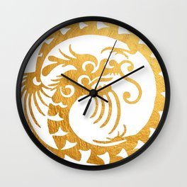 Gold Circular Tribal Dragon Wall Clock