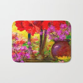 TROPICAL PINK ORCHIDS RED AMARYLLIS STILL LIFE PAINTING Bath Mat