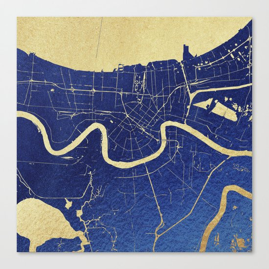 New Orleans Blue and Gold Map Canvas Print