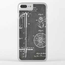 Skiing Patent - Skier Art - Black Chalkboard Clear iPhone Case