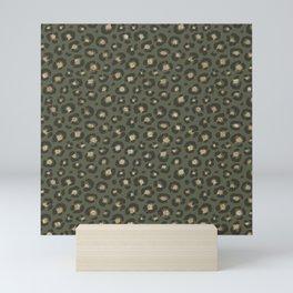 Chic Gold Glitter Military Green Leopard Mini Art Print