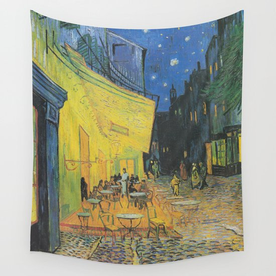 Cafe Terrace At Night By Vincent Van Gogh Wall Tapestry By
