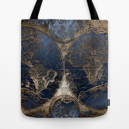 World Map Deep Blue and Gold Tote Bag