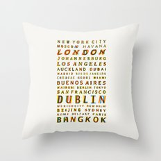 Travel World Cities Throw Pillow