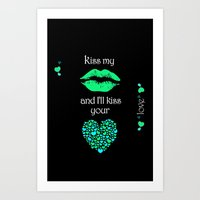 Kiss My Lips and I'll Kiss Your Heart (black) Art Print