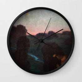 The Romantic Lovers Kissing under the Evening Star by Franz von Stuck Wall Clock