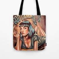 mia wallace Tote Bags featuring Mia Wallace - Pulp Fiction by Renato Cunha