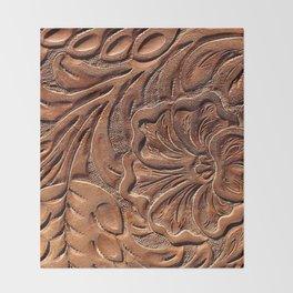 Vintage Worn Tooled Leather Throw Blanket