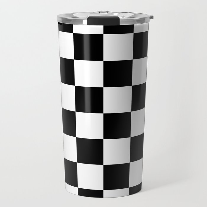 Checkered Pattern: Black & White Travel Mug