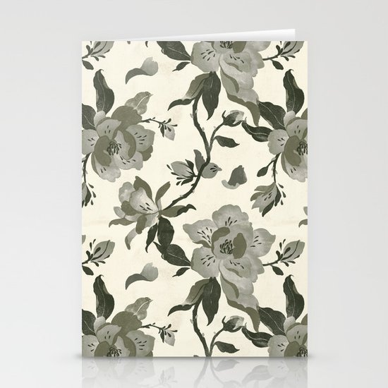 Black Magnolia Pattern Stationery Cards