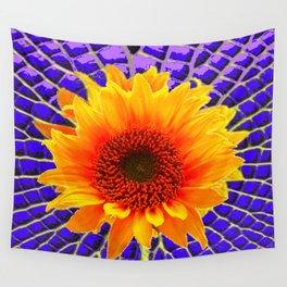 Optical Art Purple & Yellow  Sunflower Garden Art Wall Tapestry
