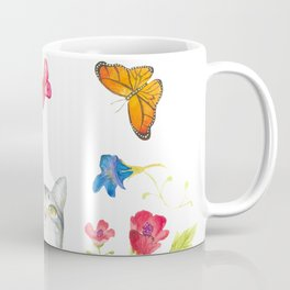 Tabby Cat with Butterflies and Flowers Coffee Mug