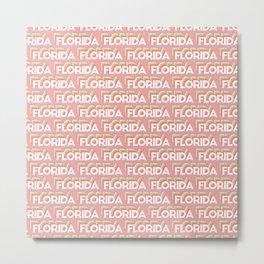 Florida, USA Trendy Rainbow Text Pattern (Pink) Metal Print