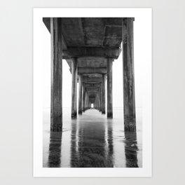 Ocean Pier Black and White Art Print