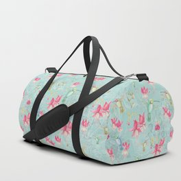 Vintage Watercolor hummingbird and Fuchsia Flowers on mint Background Duffle Bag
