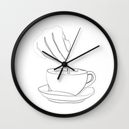 """"""" Kitchen Collection """" - Hand mixing coffee with a spoon Wall Clock"""