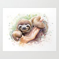sloth Art Prints featuring Sloth by Olechka