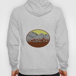 Car being towed Away Mountains Oval Woodcut Hoody