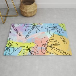 Palm tree pattern summer illustration tropical beach California pastel color Rug