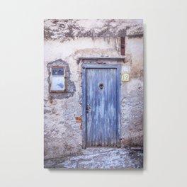 Old Blue Italian Door Metal Print