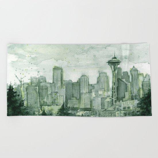 Seattle Skyline Watercolor Space Needle Emerald City 12th Man Art Beach Towel