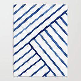 Watercolor lines pattern | Navy blue Poster