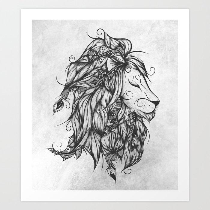 Poetic Lion B&W Art Print