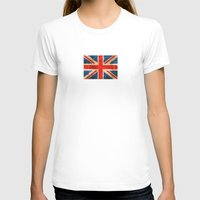 british flag T-shirts featuring Vintage Aged and Scratched British Flag by Jeff Bartels