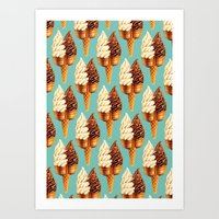 novelty Art Prints featuring Ice Cream Pattern - Teal by Kelly Gilleran