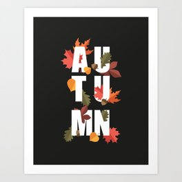 Autumn word and leaves WHITE Art Print