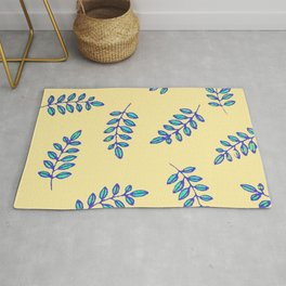 Leaf prints in a primitive digital pattern Rug