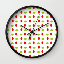 Wild polka dot 17- green and red Wall Clock