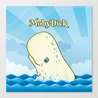 moby dick Canvas Prints featuring Moby Dick by David Sevilla