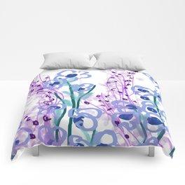 Waterlilies pink turquoise II Comforters