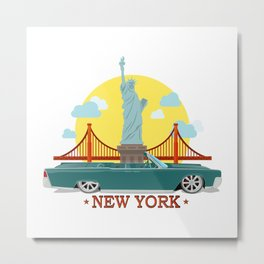 Cabriolet car on the background of the Statue of Liberty and Golden Gate Bridge Metal Print