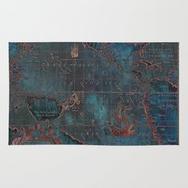 Antique Map Teal Blue and Copper Rug