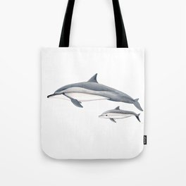 Long-beaked dolphin and baby Tote Bag