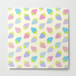 Pastel Strawberries Pattern Metal Print