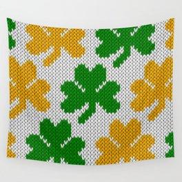 Shamrock pattern - white, green, orange Wall Tapestry