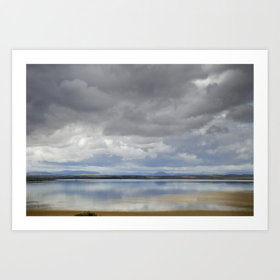 Light silver rain at the lake Art Print
