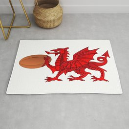 Welsh Dragon With a Rugby Ball Rug