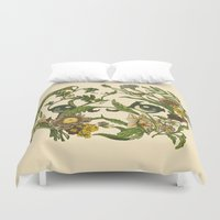 pug Duvet Covers featuring Botanical Pug by Huebucket