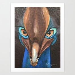 Cassowaries Bird Watercolor Painting  Art Print