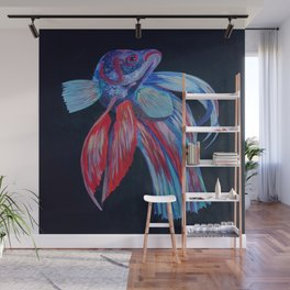 Male Siamese Fighting Fish Betta Splendens Wall Mural